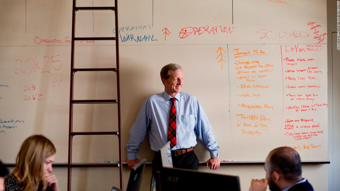 Steyer is photographed in February 2014 at the San Francisco office of NextGen Climate Action, a political action committee he founded.