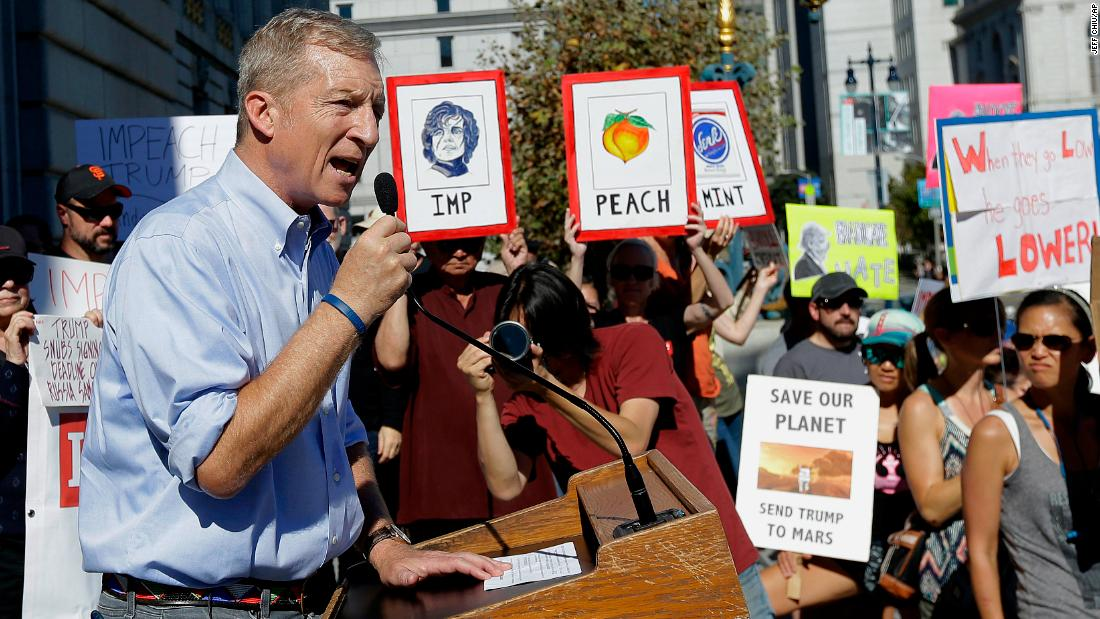 Steyer speaks at an October 2017 rally in San Francisco calling for the impeachment of President Trump.