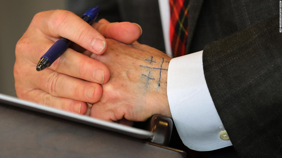 "Steyer has a Jerusalem cross written in ink on the back of his hand during a news conference in Washington in January 2018. Steyer starts every interview by drawing the pattern on the back of his hand, <a href=""https://www.politico.com/magazine/story/2018/05/29/trump-impeachment-democrats-steyer-pelosi-218548"" target=""_blank"">Politico reported.</a> It's reminds him to be humble and tell the truth, he says."