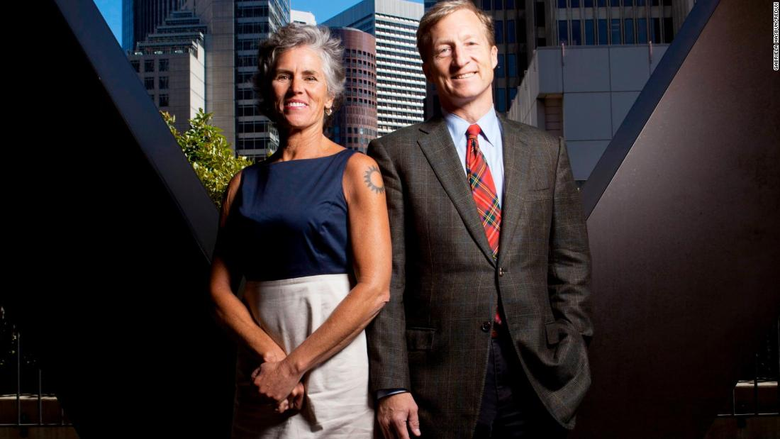 Steyer and his wife, Kat. Steyer's net worth reached $1.6 billion this year, according to Forbes. He began amassing his fortune in 1986 when he launched his hedge fund Farallon Capital.