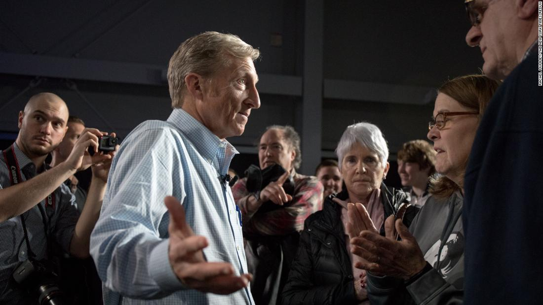 Steyer attends a town-hall meeting in Ankeny, Iowa, in January 2019. He ruled out a presidential run in January but then started his campaign in July.