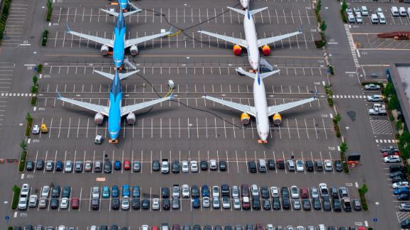 SEATTLE, WA - JUNE 27: Boeing 737 MAX airplanes are stored on employee parking lots near Boeing Field, on June 27, 2019 in Seattle, Washington. After a pair of crashes, the 737 MAX has been grounded by the FAA and other aviation agencies since March, 13, 2019. The FAA has reportedly found a new potential flaw in the Boeing 737 Max software update that was designed to improve safety. (Photo by Stephen Brashear/Getty Images)
