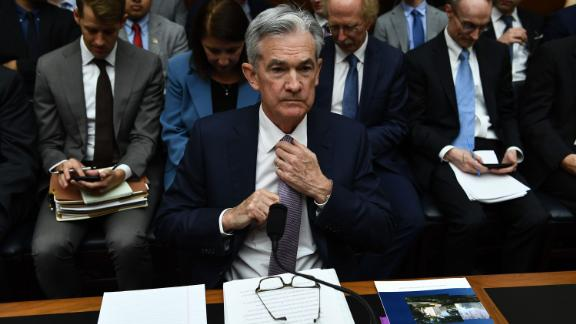 """Federal Reserve Board Chairman Jerome Powell arrives to testifiy during a full committee hearing on """"Monetary Policy and the State of the Economy"""" on July 10, 2019 in Washington,DC. - Uncertainty about trade frictions and global growth continues to weigh on the US economic outlook, Federal Reserve Chair Jerome Powell said Wednesday, keeping the door open to an interest rate cut this month. In his highly-anticipated testimony to Congress, Powell said many central bankers believed the case for lower rates """"had strengthened"""" last month given the rising """"crosscurrents"""" in the economy. (Photo by Brendan Smialowski / AFP)        (Photo credit should read BRENDAN SMIALOWSKI/AFP/Getty Images)"""