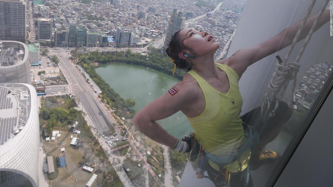 Kim climbed the Lotte World Tower in Seoul in 2017, scaling the 550-meter skyscraper in two and a half hours.