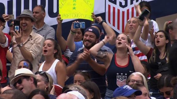 crowd chants at womens soccer ceremony