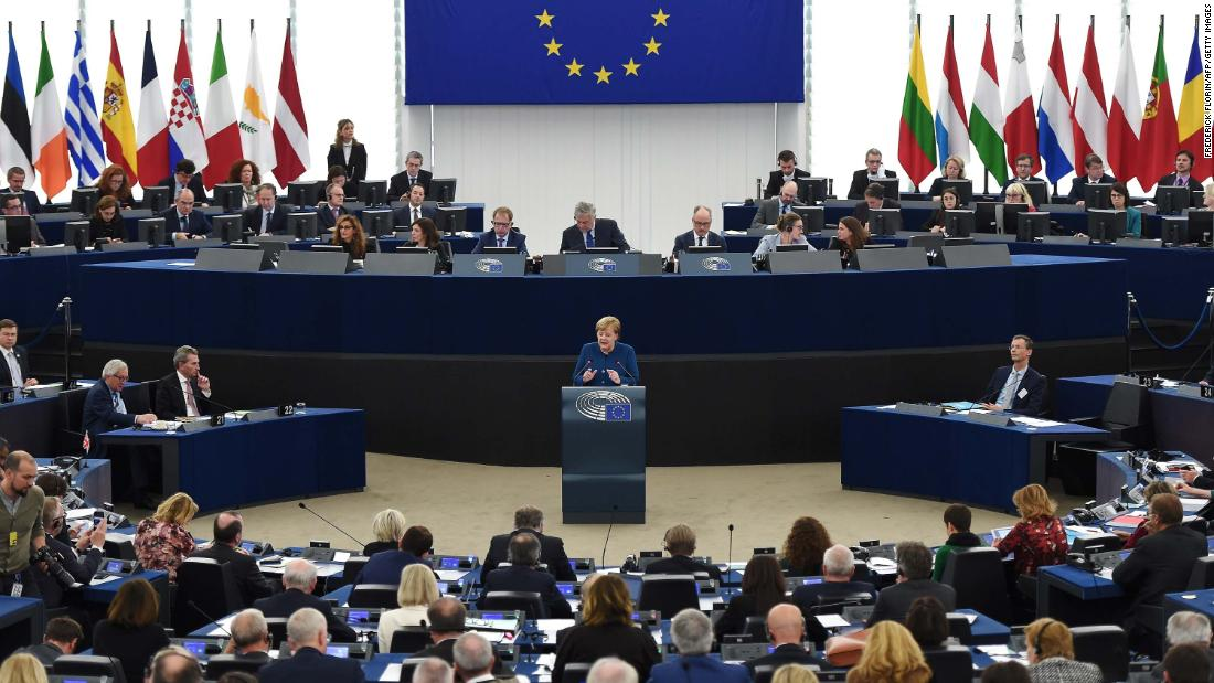 Merkel speaks at a debate on the future of Europe during a plenary session at the European Parliament in Strasbourg, France, in November 2018. Merkel made a call for a future European army and for a European Security Council that would centralize defense and security policy on the continent.