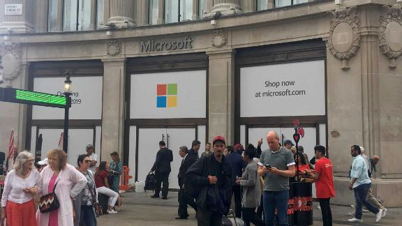 The scene outside the London flagship store on Wednesday.
