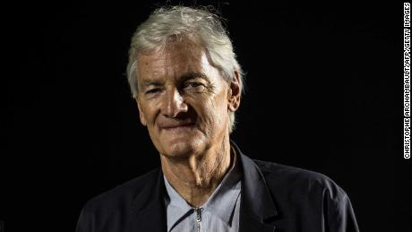 James Dyson poses during a photo session at a hotel in Paris.