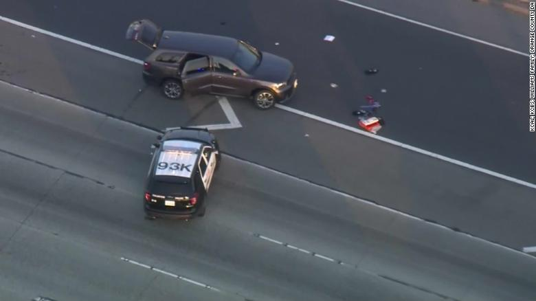 The shooting took place on the 91 Freeway in Anaheim, southeast of Los Angeles.