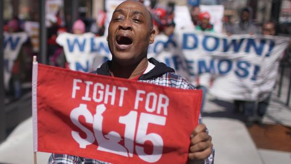 CHICAGO, ILLINOIS - APRIL 03: Demonstrators march in front of the McDonalds Headquarters demanding a minimum wage of $15-per-hour and union representation on April 03, 2019 in Chicago, Illinois. McDonald's recently announced that the company would no longer lobby against increases in minimum-wage. Similar demonstrations were held in 10 cities around the country today.   (Photo by Scott Olson/Getty Images)