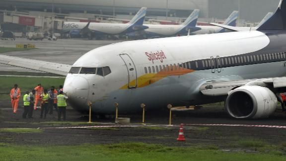 A SpiceJet aircraft that overran the runway in Mumbai on July 2, 2019.