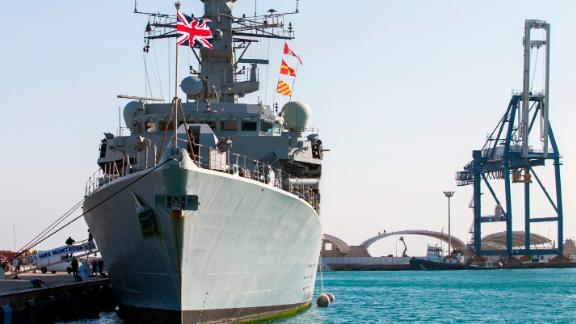 The British warship HMS Montrose docked in the Cypriot port of Limassol on February 3, 2014.