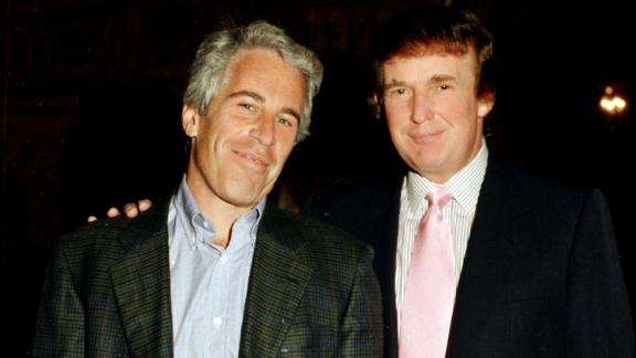 Portrait of American financier Jeffrey Epstein (left) and real estate developer Donald Trump as they pose together at the Mar-a-Lago estate, Palm Beach, Florida, 1997.(Photo by Davidoff Studios/Getty Images)