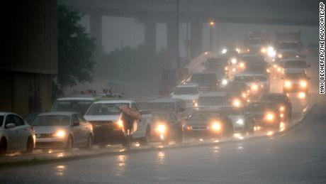 Traffic is recovering in Wednesday's rain in New Orleans.