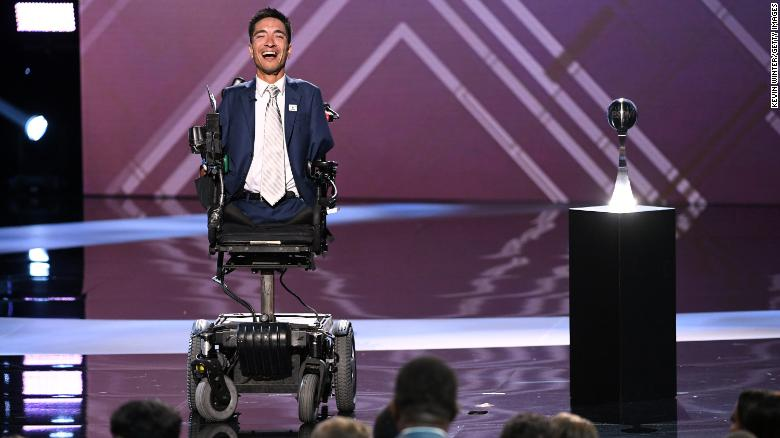 Rob Mendez accepts the Jimmy V Award For Perseverance during the 2019 ESPYs.