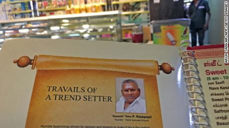 P. Rajagopal, founder of the Saravana Bhavan food chain, on a menu at one of the popular restaurants in Chennai.