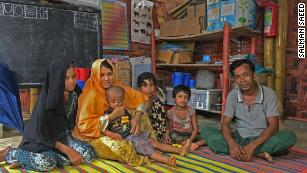 Family taking shelter in a nearby UNICEF/NOG Learning Center that survived the landslide caused due to heavy rain fall and put their house at risk. (July 7, 2019)