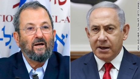 Prime Minister Benjamin Netanyahu (right) and political rival Ehud Barak.