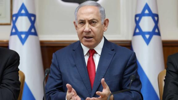 Israeli Prime Minister Benjamin Netanyahu gestures as he chairs the weekly cabinet meeting at his office in Jerusalem on July 7, 2019. (Photo by ABIR SULTAN / POOL / AFP)        (Photo credit should read ABIR SULTAN/AFP/Getty Images)