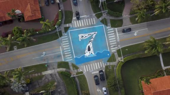 In Pinecrest, artist Xavier Cortada installed murals showing how many feet above sea level intersections are.