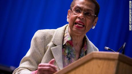 Delegate Eleanor Holmes Norton speaks at an in Washington, DC in January. (Photo by Zach Gibson/Getty Images)
