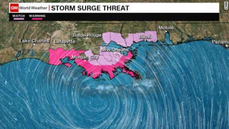Storm surge is expected around the Gulf of Mexico.