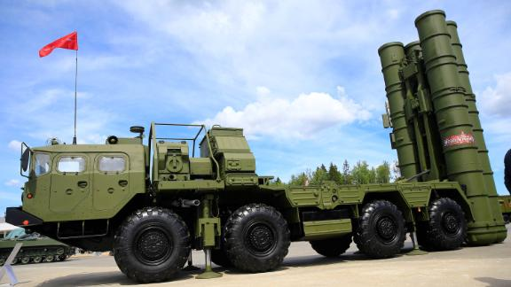 The S-400 surface-to-air missile launcher is seen at the ARMY-2019 International Military and Technical Forum