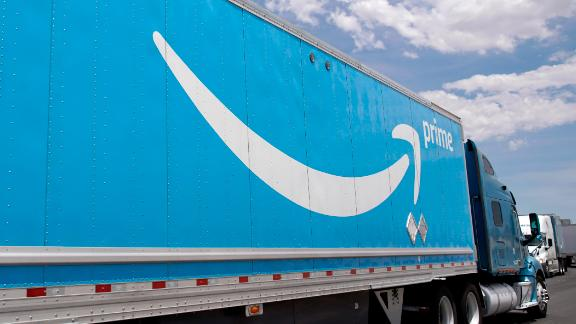 LAS VEGAS, NV - JUNE 06: An Amazon truck leaves the Amazon regional distribution center on June 6, 2019 in Las Vegas, Nevada. Amazon is expanding into more self delivery of their packages. (Photo by George Frey/Getty Images)