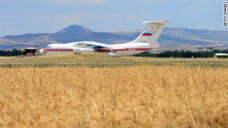 A Russian cargo plane transporting parts of the S-400 air defence system lands at Murted Airfield on Friday.