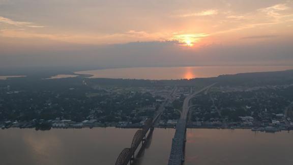 The Long-Allen Bridge crosses the Atchafalaya River in Morgan City, Louisiana.