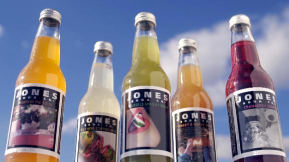 Washington, UNITED STATES:  The Jones Soda Company flavors for the holidays is seen 17 November, 2005. The selection includes flavors such as pumpkin pie, wild herb stuffing, brussels sprout, cranberry, and turkey and gravy. There is also pecan pie, broccoli casserole and smoked salmon pate.  AFP PHOTO/Mandel NGAN/Tim SLOAN  (Photo credit should read MANDEL NGAN/AFP/Getty Images)