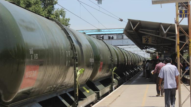 The first 50 wagons of water were brought by train into Chennai's Villivakkam railway station.