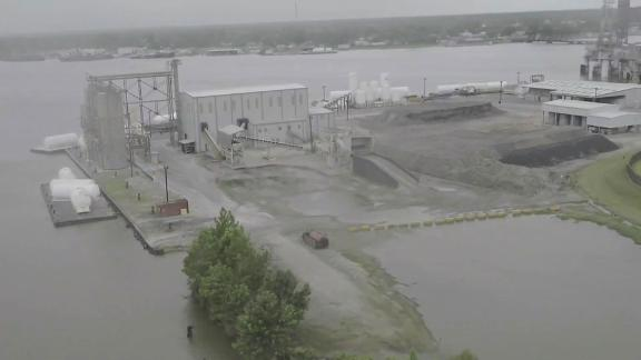 Early signs of flooding ahead of Tropical Storm Barry can be seen in Morgan City in this image captured via drone.