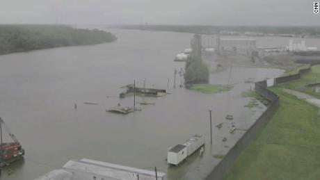Water rises around Morgan City, as seen in this image captured via drone.
