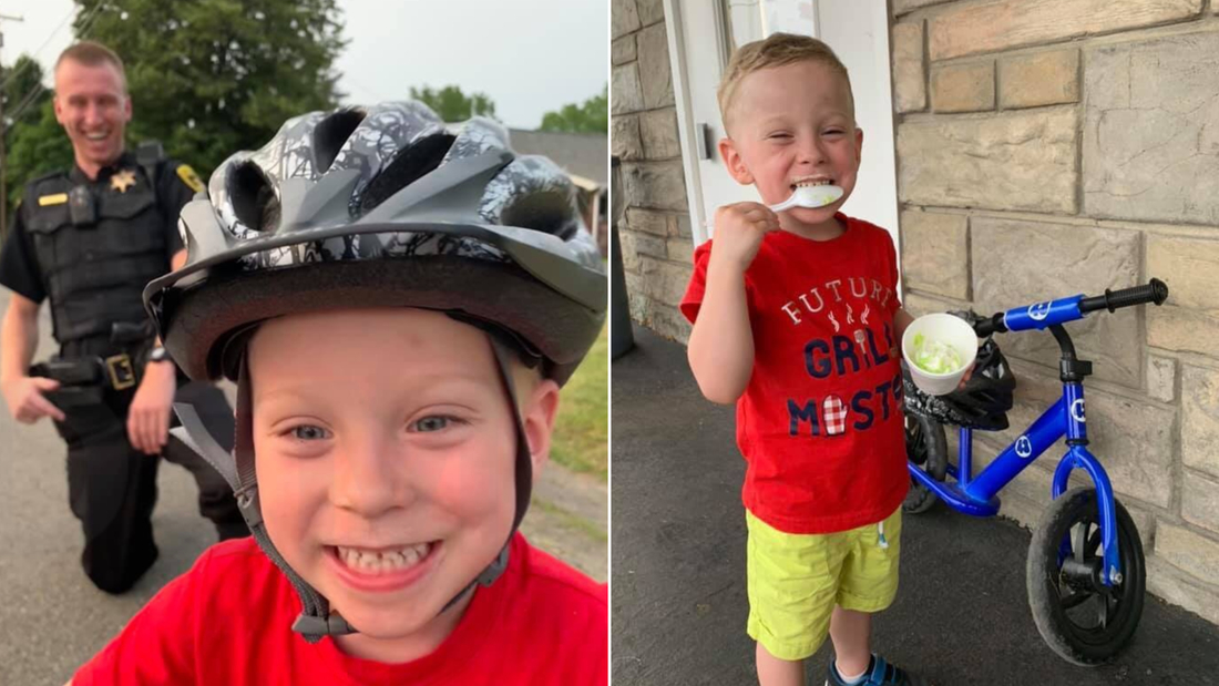 """Chemung County Sheriff's Deputy James Goodwin rewarded 3-year-old Carter with a """"ticket"""" for free ice cream."""