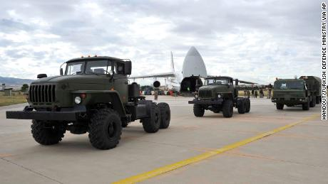 Military vehicles and equipment, including parts of the S-400 air defense systems. 400 air defense systems will unload on Friday, July 12, 2019, in Ankara from a Russian transport plane.