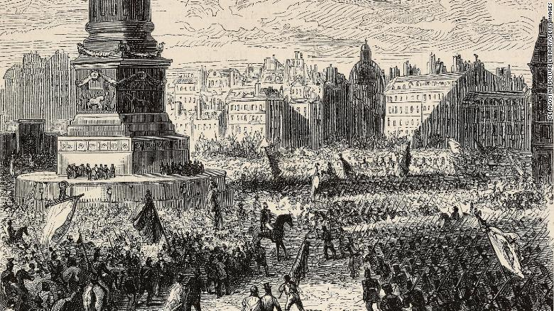 This engraving shows the proclamation of the republic in Bastille Square on February 27, 1848.
