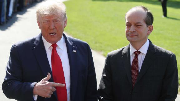 WASHINGTON, DC - JULY 12: U.S. President Donald Trump stands with Labor SecretaryAlex Acosta,who announced his resignation while talking to the media, at the White House on July 12, 2019 in Washington, DC. Acosta has been under fire for his role in the Jeffrey Epsteinplea deal over a decade ago when he was a U.S. Attorney in Florida.  (Photo by Mark Wilson/Getty Images)