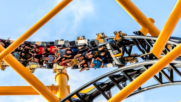 Riders enjoy Steel Curtain, a new roller coaster with nine inversions, at Kennywood amusement park in Pittsburgh, Pennsylvania, on Friday, July 12, 2019, during a media day preview.