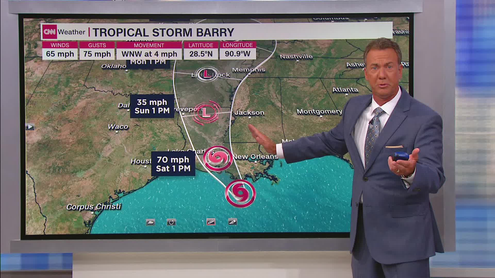 Hurricane conditions likely tonight as Barry strengthens