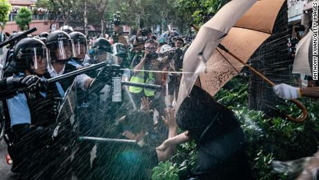 Demonstrators were marching in Sheung Shui when police pepper sprayed them.