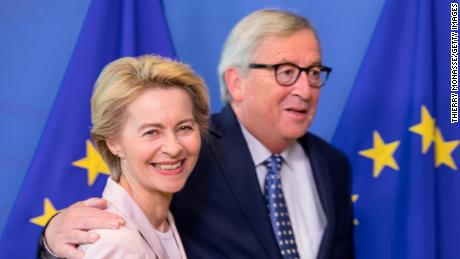 BRUSSELS, BELGIUM - JULY 04: Nominee President of the EU Commission Ursula von der Leyen (L) is welcome by the outgoing President of the European Commission Jean-Claude Juncker (R) in the Berlaymont, the EU Commission headquarter on July 4, 2019 in Brussels, Belgium. (Photo by Thierry Monasse/Getty Images)