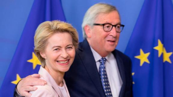 Ursula von der Leyen is favorite to succeed Jean-Claude Juncker (right) as European Commission President.