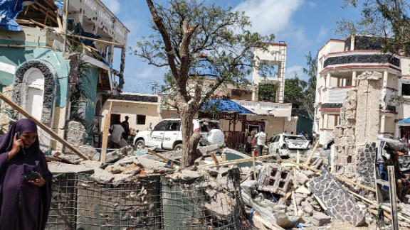 The Asasey Hotel in Kismayo, Somalia, the day after at least 26 people were killed in a terror attack.