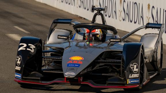 Sebastien Buemi in his Nissan e.dams entry led from start to finish to win an eventful New York City round of the Formula E championship.