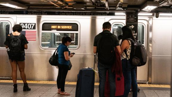 A train sits out of service at Penn Station.