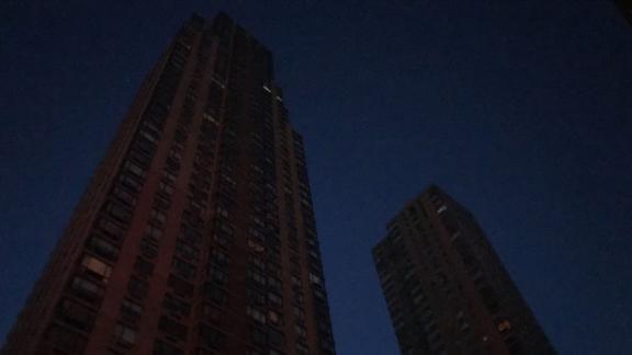 Buildings near Columbus Circle are dark.