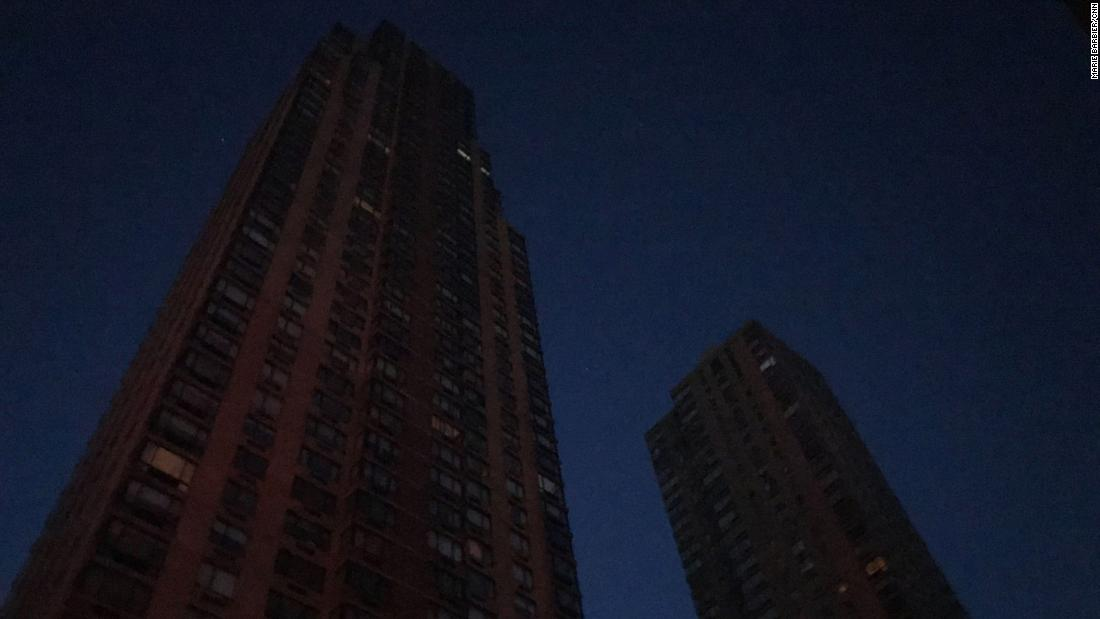 Buildings near Columbus Circle are dark.