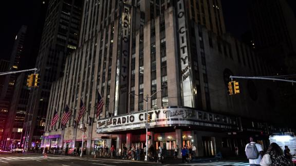 Radio City Music Hall is dark during the blackout.