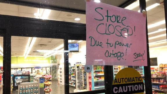 A convenience shop is closed.